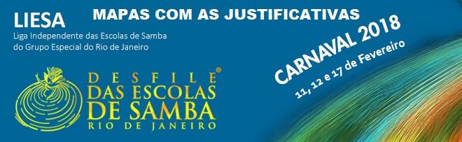 LIESA divulga mapas com as justificativas dos julgadores do Grupo Especial – Carnaval 2018