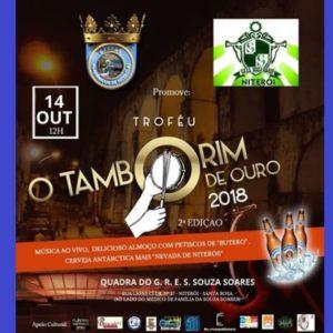 """Troféu """"O Tamborim de Ouro"""" será entregue no dia, 14 outubro, em Niterói"""