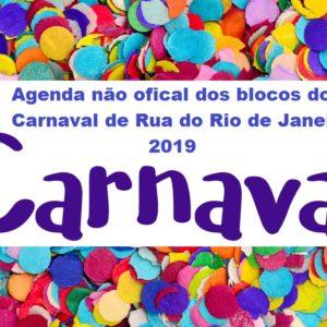 Agenda não oficial do blocos do Carnaval de Rua 2019