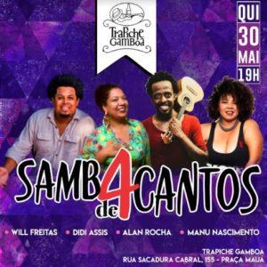 Samba dos 4 Cantos terá participação de Tiãozinho da Mocidade, no Trapiche Gamboa