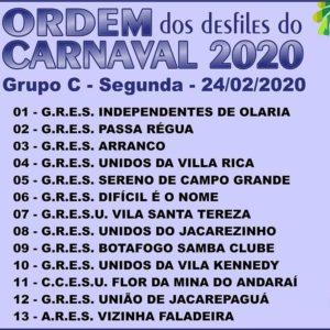 Sorteio da ordem dos desfiles do grupo C para o carnaval do Rio 2020