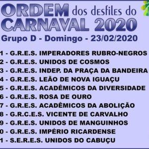 Sorteio da ordem dos desfiles do grupo D para o carnaval do Rio 2020