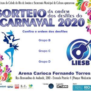 Sorteio da ordem dos desfiles dos grupos B, C e D para o carnaval 2020