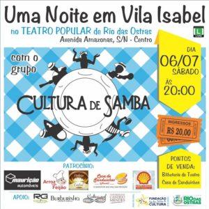 """Cultura de Samba apresenta o show """"Uma Noite em Vila Isabel"""", em Rio das Ostras neste sábado (06)"""