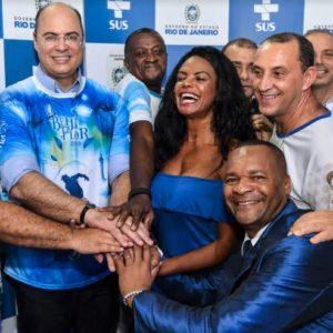 Beija-Flor recebe o governador Wilson Witzel, em lançamento do projeto 'Saúde de Bamba'