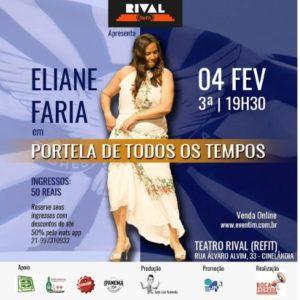 "Eliane Faria exalta a Portela no show ""PORTELA DE TODOS OS TEMPOS"""