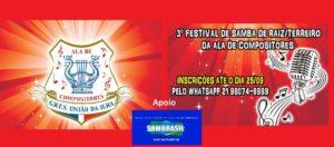 PARTICIPE DO 3º FESTIVAL DE SAMBA DE RAIZ/TERREIRO DA ALA DE COMPOSITORES DA UNIÃO DA ILHA DO GOVERNADOR