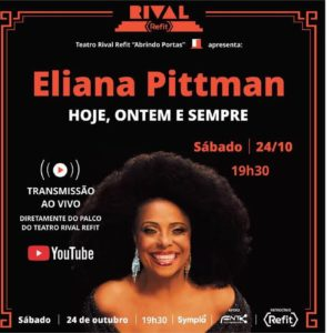 """Eliana Pittiman lança novo álbum """"Ontem, hoje e sempre"""", no Teatro Rival Refit, com transmissão ao vivo"""