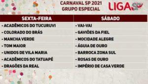 Liga SP realiza o sorteio da ordem dos desfiles da escolas de samba para o próximo carnaval*