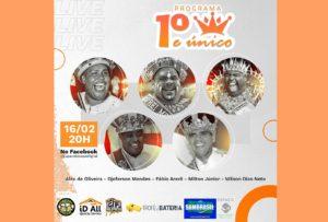 Reis Momos cariocas estreiam o programa 1° & Único na terça-feira de carnaval (16)